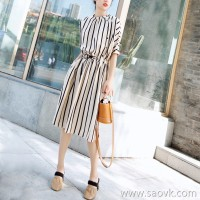 European station 2018 new fashionable summer literary striped waist slimming travel holiday long shirt dress