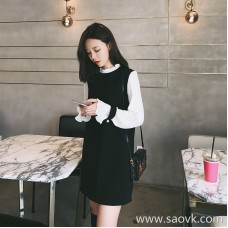 European station 2018 autumn new small fragrance network red goddess Fan Gang taste contrast color dress Hepburn slim skirt