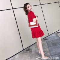 European station 2018 summer new seaside holiday small red thin skirt Harajuku style fishtail dress