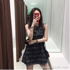 European station 2018 Hong Kong taste retro Harajuku bf design sense goddess Fan Xian thin lattice net red vest dress female