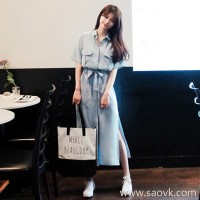 European station 2018 summer college long skirt chic British retro super fairy Hong Kong flavor sukol girl dress