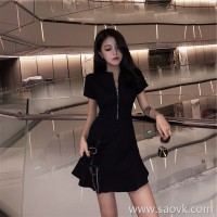 European station 2018 was thin Harajuku bf skirt Hepburn small black skirt temperament design sense summer fishtail dress female