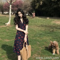 European station 2018 new pphome long skirt Sen printing was thin super fairy dress Xiagang flavor skirt tide