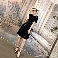 European station 2018 new super fairy skirt gentle waist girl heart retro Hong Kong flavor hipster dress summer tide
