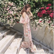 European station 2018 literary dress long fairy super gentle wind beach holiday travel sling print dress summer