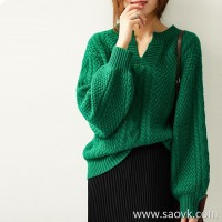 の[ZY158799VG] Laughing Hange autumn and winter new retro lazy wind emerald loose hooded cashmere sweater