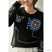 の[ZY158707VG] Unstoppable girl heart! Western-style three-dimensional crocheted wool and cashmere sweater
