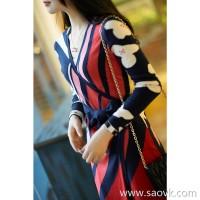 の[E553318] elegant style full-color contrast hanging hair sexy stack 襟 wool wrap dress