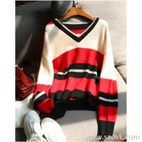 の[ZY158486VG]Laughing Han Pavilion V-collar charm Casual posture Lazy wind striped cashmere sweater