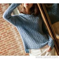 の[ZY158537VG]笑涵阁 Air temperature Retro twisted hooded dyed cashmere sweater
