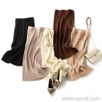 の[ZQ158254VG] Laughing Hange hides the elegant temperament of GAO! Wool cashmere pit high waist skirt