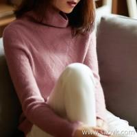 の[ZY158447VG] 笑涵阁 Simple texture knitting 慵 lazy pile collar pure cashmere sweater