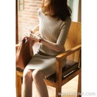 の[ZQ158616AG]笑涵阁 Pile collar mid-sleeve solid color Slim-fit pit 100 wool knit dress