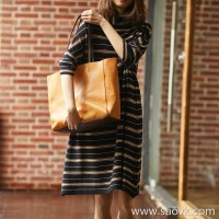 の[ZQ116802AL]笑涵阁 loose version Stacked collar bat sleeves Wool striped knit dress