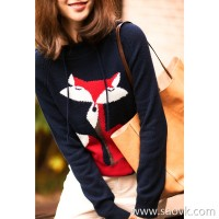 の[ZY158618AG] Cashmere family! Excellent feeling hand-made jacquard small fox pure cashmere back hoodie