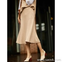 の[ZQ158471AG] Xiaohan Pavilion series out of the variety! Slim pure wool knit skirt