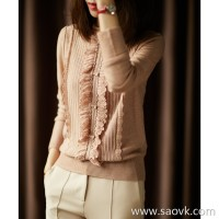 α[ZY158423AG]笑涵阁 awakens your girl's heart three-dimensional hook flower wood ear half-high collar sweater