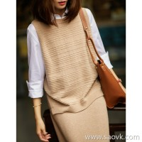 の[ZY158466AG] 笑涵阁 Stylish female intellectuals split front and rear wool knit vest
