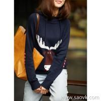 の[ZY158573AG] don't hesitate to age, zui love elk cuff color matching hooded sweater cashmere sweater