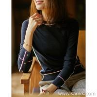 の[A575666] 笑涵阁 Light luxury aesthetics on both sides split German Yangzi yarn 16G full wool sweater