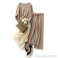 の笑涵阁 Fall in love with this color, look good, wear a look, pure wool sweater, wide-leg pants suit