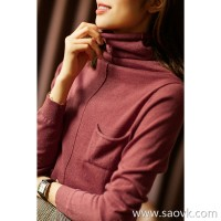 の[ZY117533AL] Xiaohan Pavilion middle seam stretching curve! Stir-fried fine wool high collar curled knit pullover
