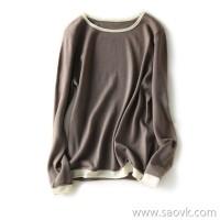の[ZY118142AL] 笑涵阁 Series models exquisite base natural curling hit color wool sweater