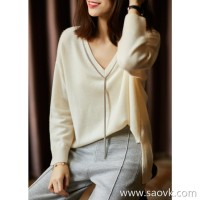 [ZY118002AL] Xiaohan Pavilion fringed bead chain does not pick the body elegant V-neck cashmere sweater