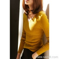 の[ZY118702AL] Xiaohan Pavilion Five colors are beautiful, all in! Full wool V-neck knit bottoming shirt