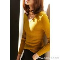 の[ZY118702AL] Xiaohan Pavilion Five colors are beautiful, all in! Full wool V-neck knit bottoming shirt