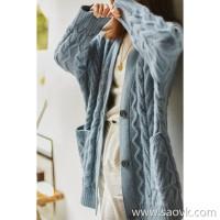 の[ZY117607AL] 笑涵阁 Three-dimensional twisted flower lazy wind sweater female knit cardigan coat long section