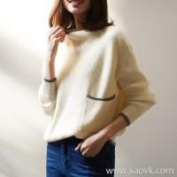 の[ZY158107VG] Laughing Hange warmth half-high collar! Color matching has a tone ~ full cashmere loose sweater