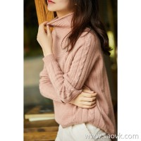 の[ZY158279VG]笑涵阁 Creamy soft and delicate full cashmere high collar twisted knit sweater