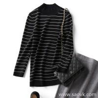 の[A566270] 笑涵阁 Classic stripes Human hand standard Round neck cropped sleeve sweater