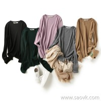 の[ZY158331AG] 笑涵阁 Delicate and soft 16-pin full wool trumpet sleeves slim sweater