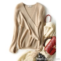 の[ZY158267VG] 笑涵阁 Big woman's flattering ~ Slim cross V-neck cashmere sweater