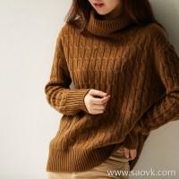 の[W565030] 笑涵阁 Give the value of the extra points ~ velvet warm autumn and winter! Stranded cashmere turtleneck sweater