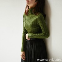 の[ZY118703AL]笑涵阁 Full wool Skin-friendly not 6-color pit piled high collar sweater