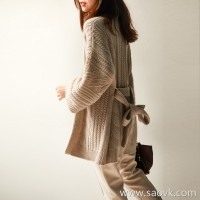 の[ZY117606AL]笑涵阁慵 lazy wind twist without buckle tie thick woolen sweater cardigan coat
