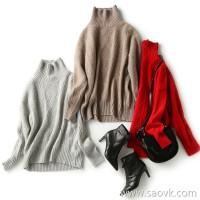 の[W565204] 笑涵阁慵懒艺范 Fan delicate cashmere high collar long sleeve irregular sweater