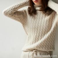 の[ZY117519AL] 笑涵阁 The warmth of the entwined room Vintage twisted cashmere turtleneck sweater