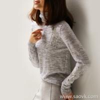 の[ZY116833AL] small elegant, big comfortable ~ lace hollow patch cloth flower wool high collar bottoming shirt