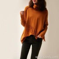 の[ZY118742AL]笑涵阁 five colors optional romantic smart tassel pile collar raglan sleeve sweater