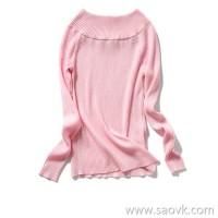の[W565015] Laughing Hange 6 colors optional Slim and thin two-in-one collar Full wool sweater