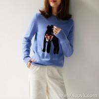 の[ZY158627AG]笑涵阁Italian high-end INTARSHA handmade intarsia Schnauzer cashmere sweater