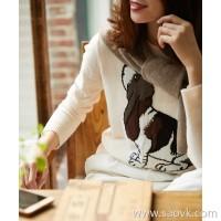 の[ZY158556AG] 笑涵阁 Italian high-end INTARSHA hand-embedded Beagle cashmere pullover