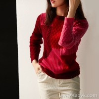 の[ZY158264VG] 笑涵阁 DA brand same series color matching rich color cashmere sweater