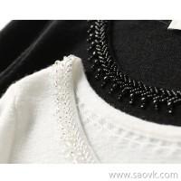 の[ZY158195AG] has a necklace that is generally shiny, hand-beaded 16-pin full wool sweater