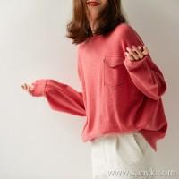 の[ZY158535AG]Everyone wears a good look ~ chain pocket full cashmere loose slim sweater
