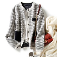 の[ZY116801AL]笑涵阁小xiang风 Double-sided heterochromatic jacquard with wool knit cardigan coat